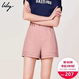 Lily2019夏新款<span class=H>女装</span>潮流修身裤子女休闲裤通勤宽松西装短裤5925