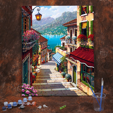 Diy Digital Oil Painting Oil Painting Living Room Landscape Abstract Figure Flower Filling Hand Painting Decorative Street View