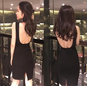 2018夏季新款韩范V领夜场气质性感修身露背包臀开叉中长款连衣裙