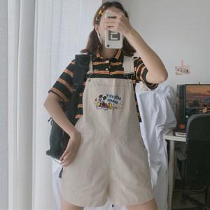 夏季新款女装韩版小清新可爱卡通米奇百搭宽松背带短裤女阔腿裤