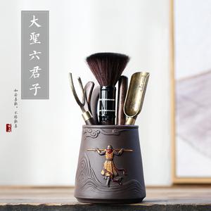 齐天大圣茶道六君子黑檀木套装 功夫茶具配件茶盘零配茶勺茶夹