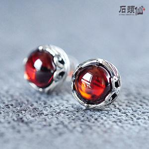 正品S925纯银石榴石耳钉复古气质优雅简约红<span class=H>宝石</span>水晶防过敏女耳饰