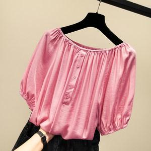夏季超仙露锁骨一字肩可两穿短袖雪纺衫宽松小衫遮肚子<span class=H>衬衫</span>上衣女