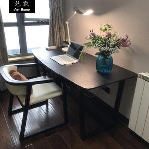 北欧书桌实木<span class=H>办公桌</span>黑色现代简约电脑桌写字台书房家具套装组合