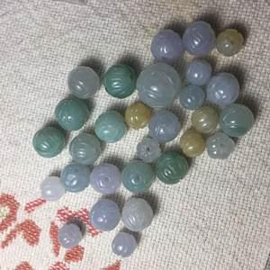天然缅甸A货翡翠淡三3彩10毫米南瓜珠莲花珠散珠