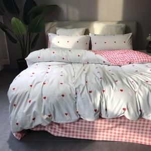 A棉B绒保暖磨毛宝宝绒四件套冬季床上<span class=H>用品</span>简约2米被套