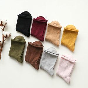 暖绵绵堆堆袜超柔保暖<span class=H>短袜</span>子秋冬季全棉女士中筒袜女简约纯色女袜