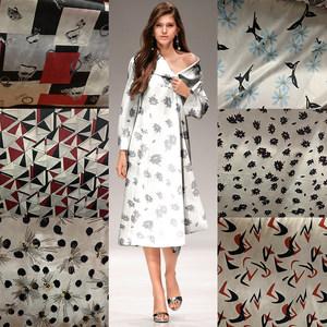 原装进口优质桑蚕丝真丝面料 旗袍绸缎中国风链条提花面布料布艺