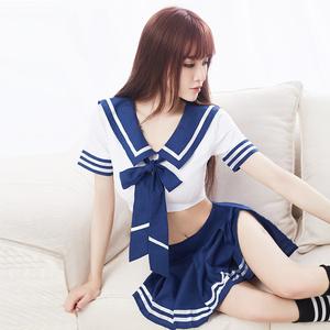 清纯水手服女性感激情趣内衣服小胸SM制服透视装用品套装夜火JS