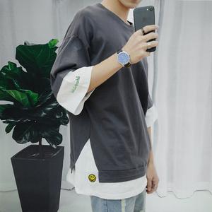 港风短袖T恤男士学生韩版ulzzang潮流日系原宿百搭刺绣半袖体恤衫