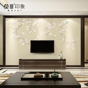 新中式电视背景墙<span class=H>壁纸</span>客厅卧室现代3d<span class=H>花</span>鸟无缝<span class=H>壁画</span>无纺布影视墙
