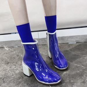 pvc短靴2019新款网红同款女鞋透明凉鞋女粗跟高跟鞋圆头马丁凉靴