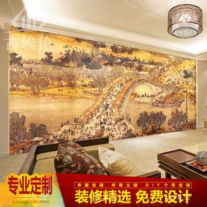 中式清明上河图壁纸客厅3d立体仿古饭店餐厅壁画办公茶室背景墙纸