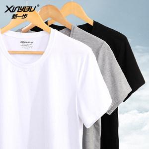 商场同款新一步澳尔棉T恤男士圆领打底衫V领套头宽松上衣短袖<span class=H>汗衫</span>