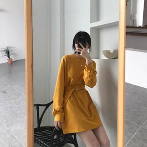 2019夏季新款韩版chic纯色长袖系带收腰显示裙子连衣裙<span class=H>T恤</span>上衣女