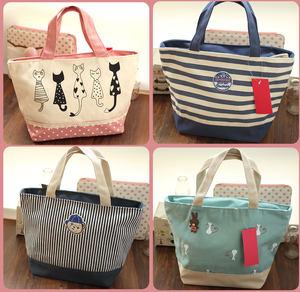 清新 可爱 小帆布包 手提包 饭盒包 帆布便当包 遛娃包 妈咪小包