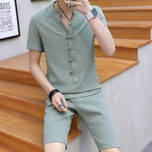 夏季短袖盘扣中山装男士中国风套装修身青年改良<span class=H>汉服</span>两件套男唐装