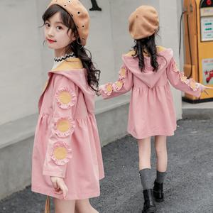 2018新款韩版女童春装5外套7中大童9春秋6-15岁<span class=H>儿童</span>10中长款8风衣