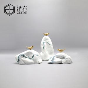 新中式陶瓷金属小鸟靠山<span class=H>石头</span>摆件庭院花园客厅书房会所样板房饰品