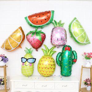 夏威夷水果<span class=H>菠萝</span>西瓜草莓铝膜气球宝宝周岁百天生日派对布置装饰品