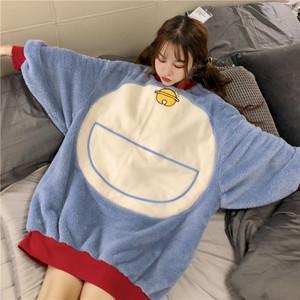 冬季2018新款韩版宽松休闲家居服学生慵懒风可爱叮当猫睡衣套装女