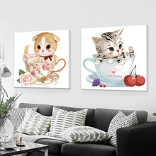 Diy Digital Oil Painting Children's Cartoon Animation Simple Filling Animal Hand Painting Decorative Oil Painting Cat