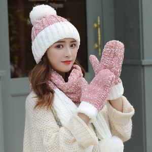 毛线<span class=H>帽子</span><span class=H>围巾</span>手套三件套女冬天韩版潮百搭时尚新款冬季一体两件套