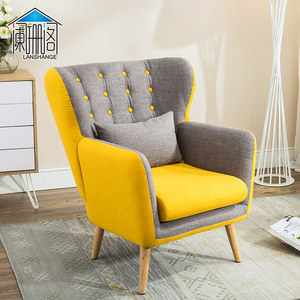欧式单人布艺<span class=H>沙发</span>椅服装店卧室客厅单人位小<span class=H>沙发</span>美式咖啡厅老虎椅