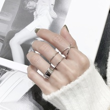 Japanese and Korean version of S925 sterling silver ring X cross opening smooth three-dimensional opening ring simple design silver ring
