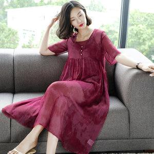 阿吉多时尚V领<span class=H>连衣裙</span>夏季新款吊带两件套淑女气质飘逸<span class=H>长裙</span>仙女裙