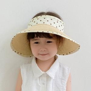 夏季儿童帽子<span class=H>遮阳帽</span>时尚潮防晒太阳帽薄款草帽女沙滩帽宝宝空顶帽