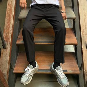ONEMAX夏上新/韩版小脚直筒潮男休闲裤纯色立体裁剪西裤翻边长裤