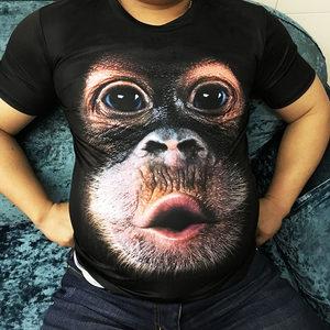 3D印花大猩猩短袖<span class=H>t恤</span>男士搞怪滑稽猴子个性搞笑大码冰丝半袖衣服