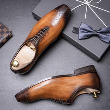 British Vintage Brock carved men's shoes pointed polished hand-made business casual shoes Oxford shoes breathable men's shoes