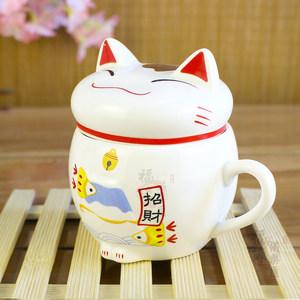 创意招财猫陶瓷杯 可爱<span class=H>马克杯</span>带盖 猫舍卡通情侣对杯礼品咖啡杯子