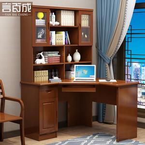 现代中式实木书桌书房台式电脑桌带书柜书架<span class=H>写字台</span>家办公用桌子