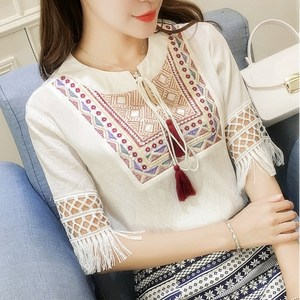 2019夏季女装新款民族风刺绣棉麻系带流苏宽松蕾丝T恤短袖<span class=H>上衣</span>女