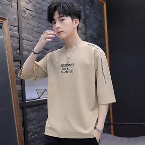 宽松短袖t恤男夏季五分袖半袖夏打底衫