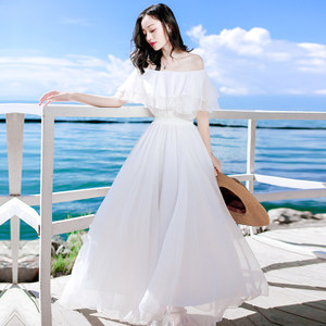 2017夏季新品女装收腰白色<span class=H>雪纺</span><span class=H>连衣裙</span>长裙波西米亚海边度假沙滩裙