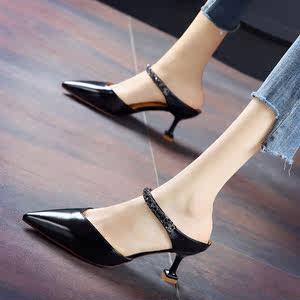 韩版2019夏季新款气质水钻包头半<span class=H>拖鞋</span>尖头细跟粉色高跟鞋女小皮鞋