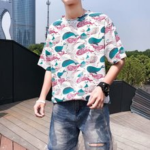 Short-sleeved Men's Chaozhou Brand Loose Net Red T-shirt Fashion Small Popular Design Couple Summer Dress 2019 New ins Half-sleeve