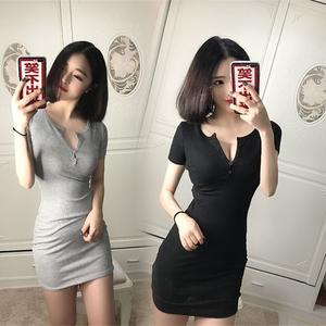 2019夜店女装春性感低胸紧身修身显瘦夜场包臀短袖T恤连衣裙短裙