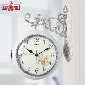 欧式树脂圆形双面挂钟客厅创意静音时钟两面<span class=H>挂表</span>复古石英钟表大号