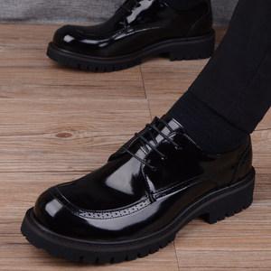 男士百搭黑色漆皮大头<span class=H>皮鞋</span>商务休闲圆头<span class=H>皮鞋</span>韩版英伦青年厚底男鞋
