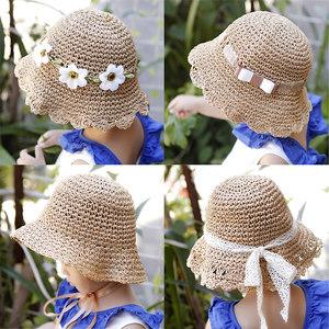 儿童草帽女渔夫帽女童夏薄款可折叠遮阳帽凉帽公主系带宝宝防晒帽