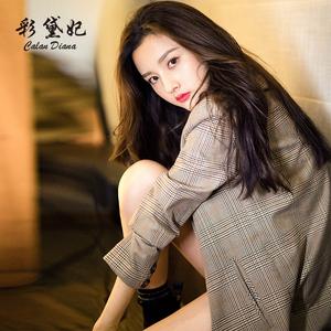 彩黛妃2019春夏新款韩版女装修身显瘦休闲西服格子商务小西装外套