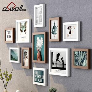 现代简约照片墙装饰餐厅创意个性照片上墙背景相片<span class=H>相框</span>墙挂墙组合