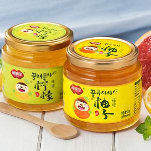 [买就送杯勺]福事多蜂蜜柚子茶+柠檬茶1KG韩国风自制果味茶酱<span class=H>冲饮</span>