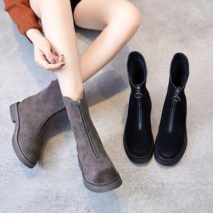 中筒靴女磨砂皮女靴2018新款平底<span class=H>雪地靴</span>子加绒高筒冬靴前拉链短靴
