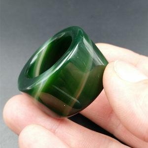 厂家直销天然玉石A货绿色玛瑙扳指 加宽加大玛瑙戒指男款戒指